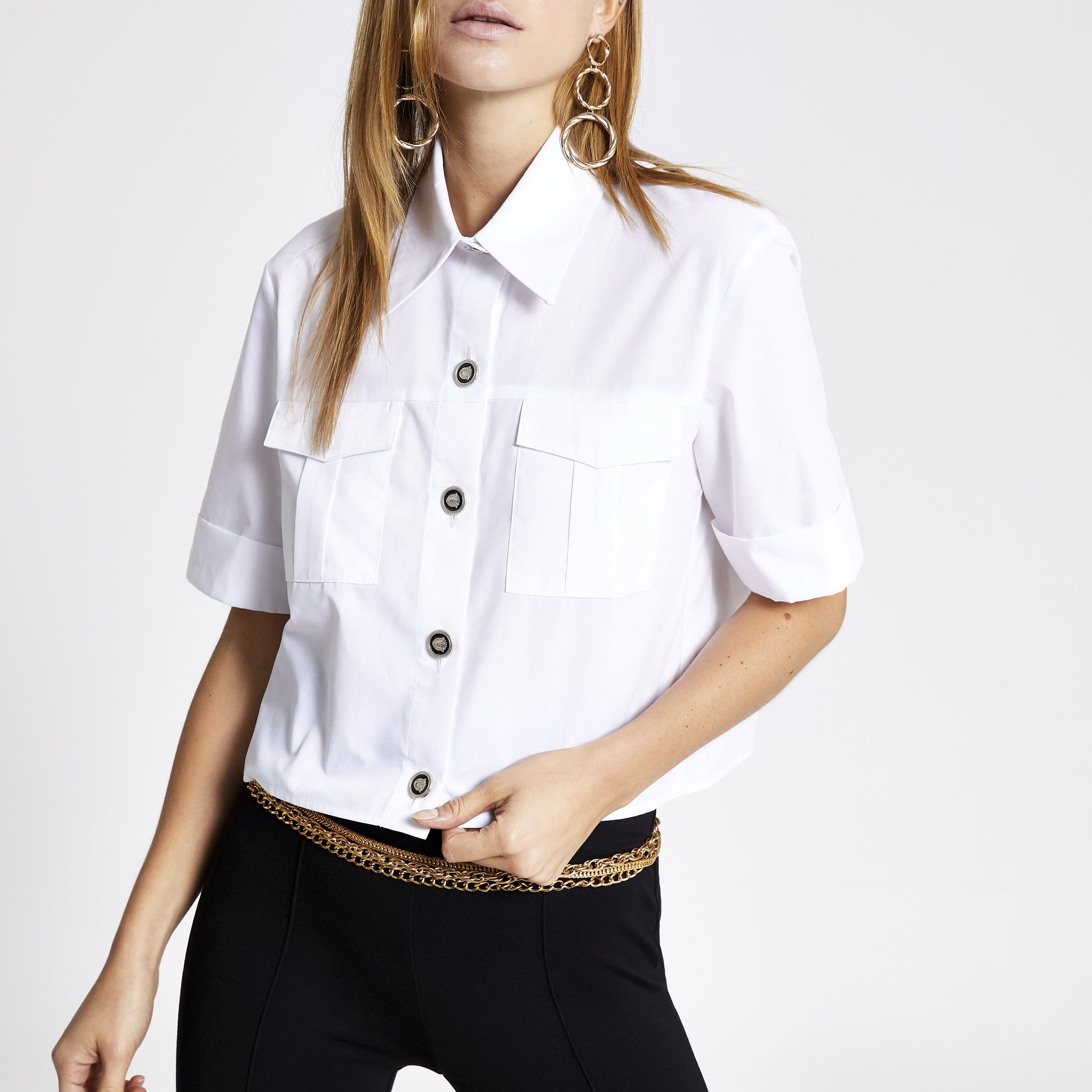RIVER ISLAND | Womens White cropped utility shirt | Goxip