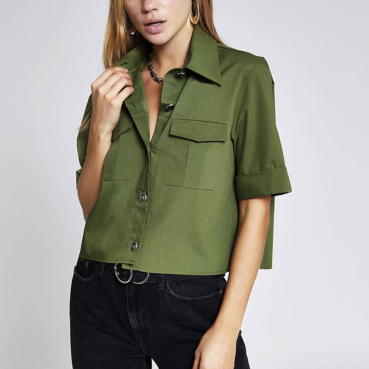 Kaki cropped utility overhemd