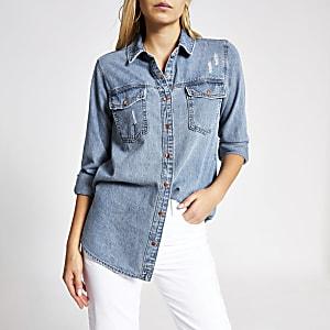 Chemise à manches longues bleue en jean