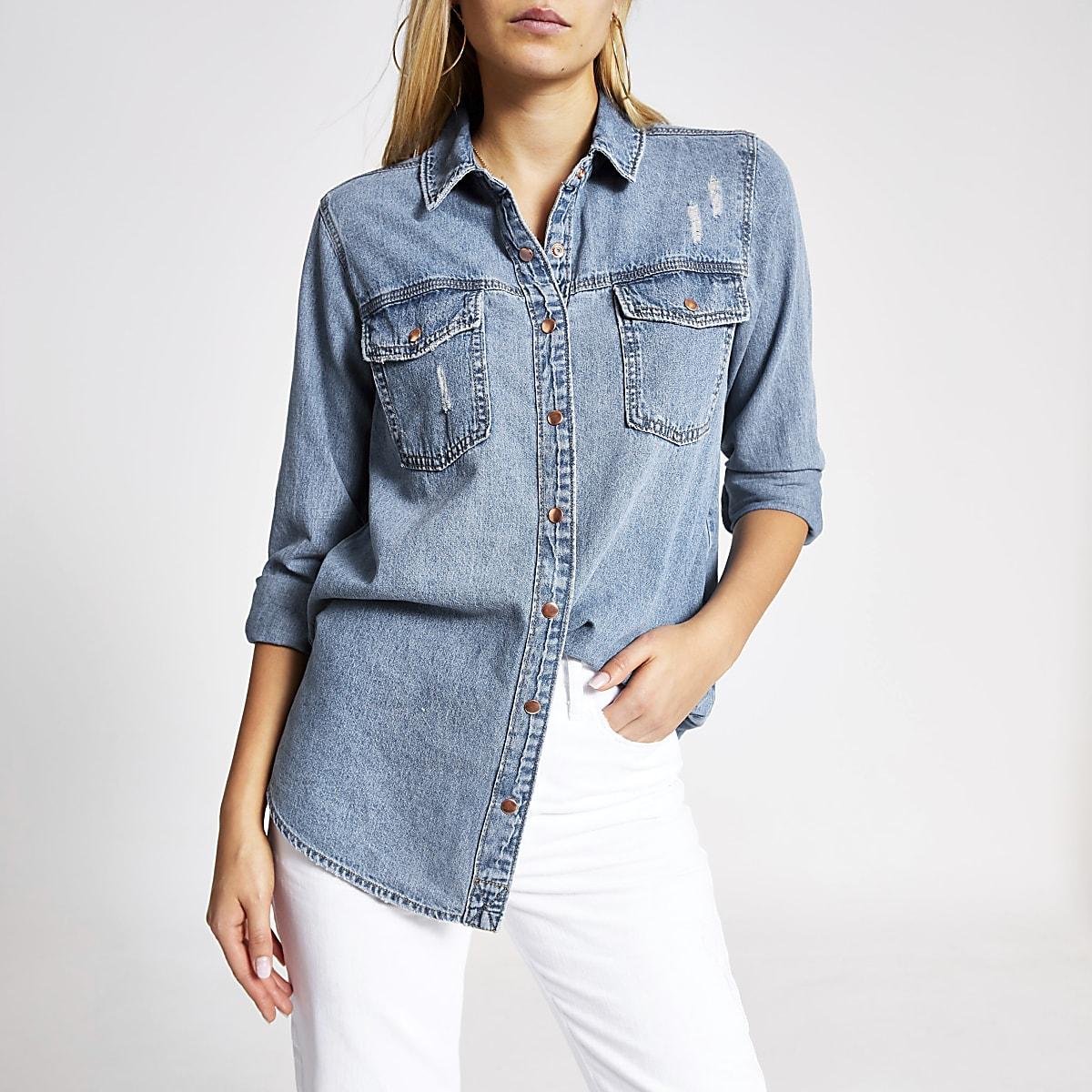 Blauw denim overhemd met lange mouwen