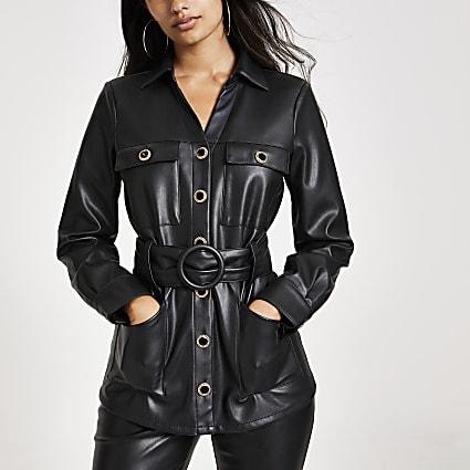 Black faux leather long sleeve belted shirt