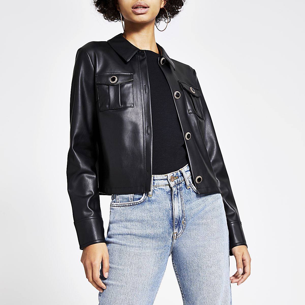 Black faux leather cropped shirt