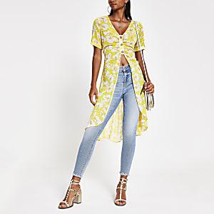 Gele gebloemde kimono