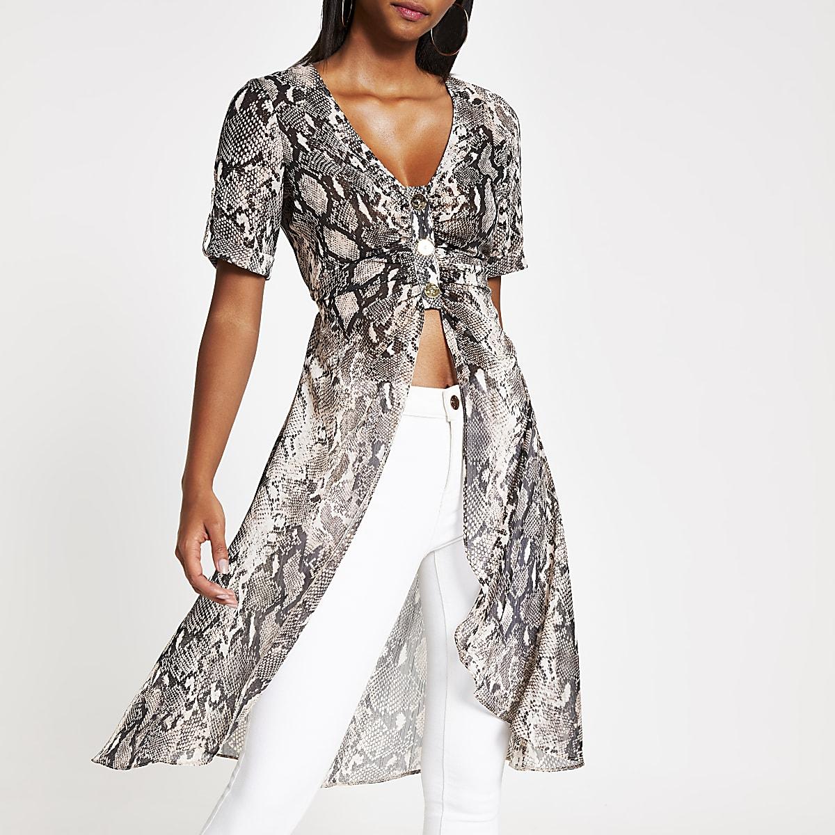 Bruine kimono met slangenleerprint