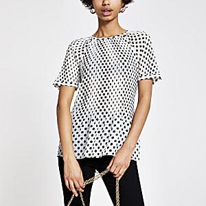 Black spot print plisse top
