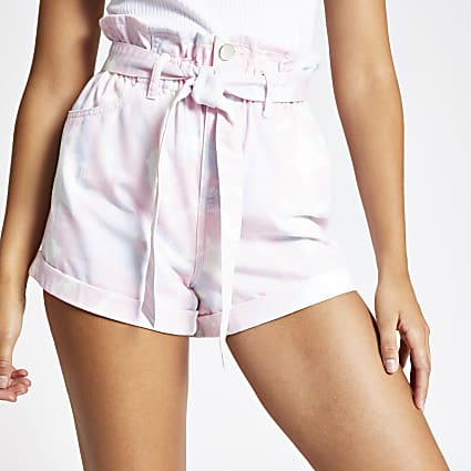 Pink paperbag tie dye denim shorts