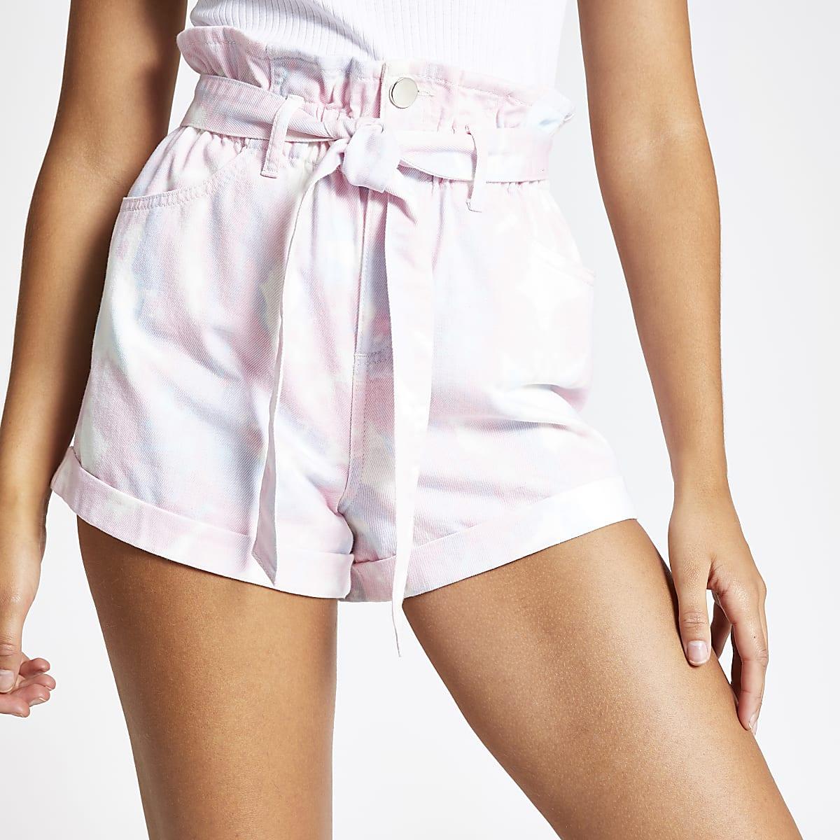 Roze denim short met tie-dye en geplooide taille