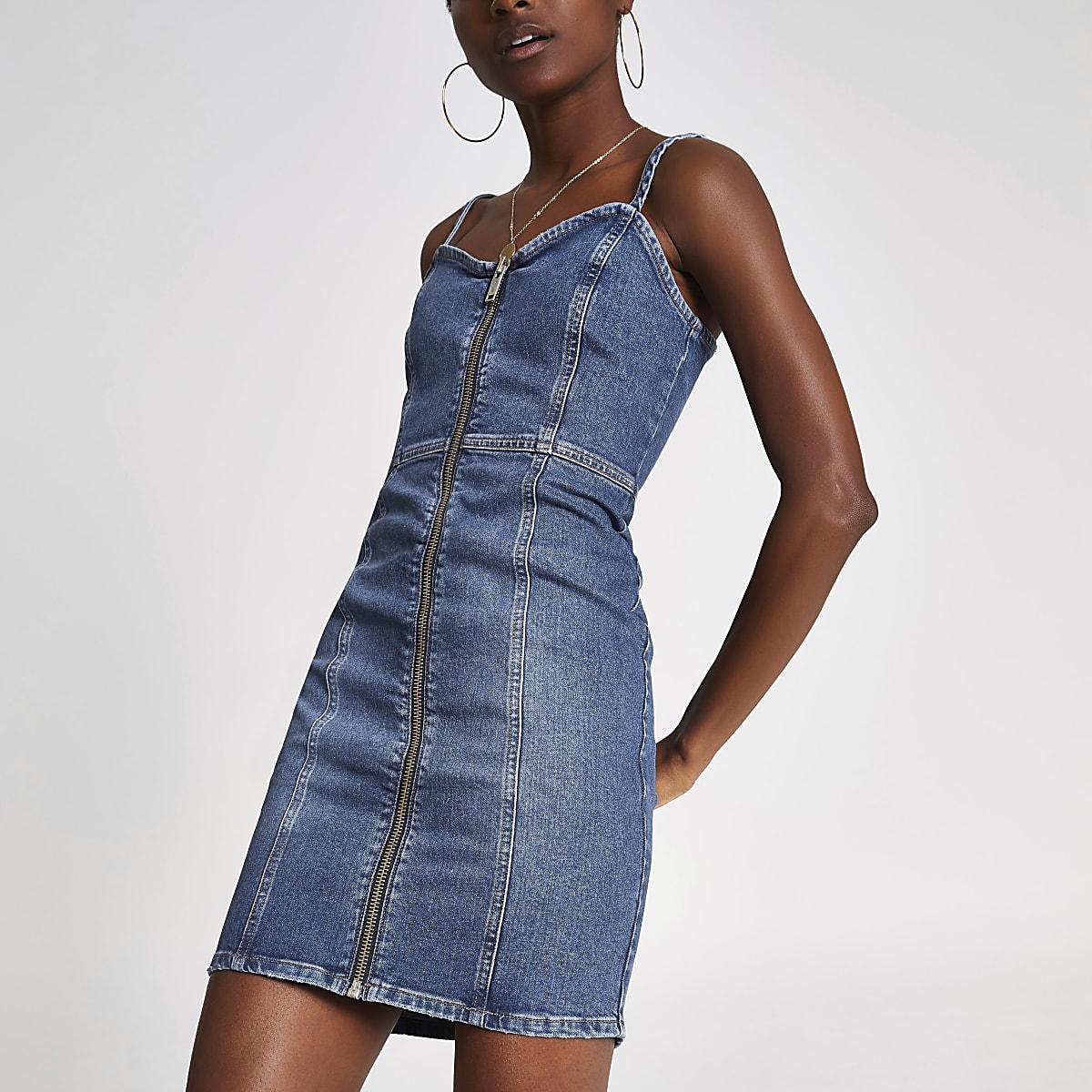 Mid blue zip front denim mini dress