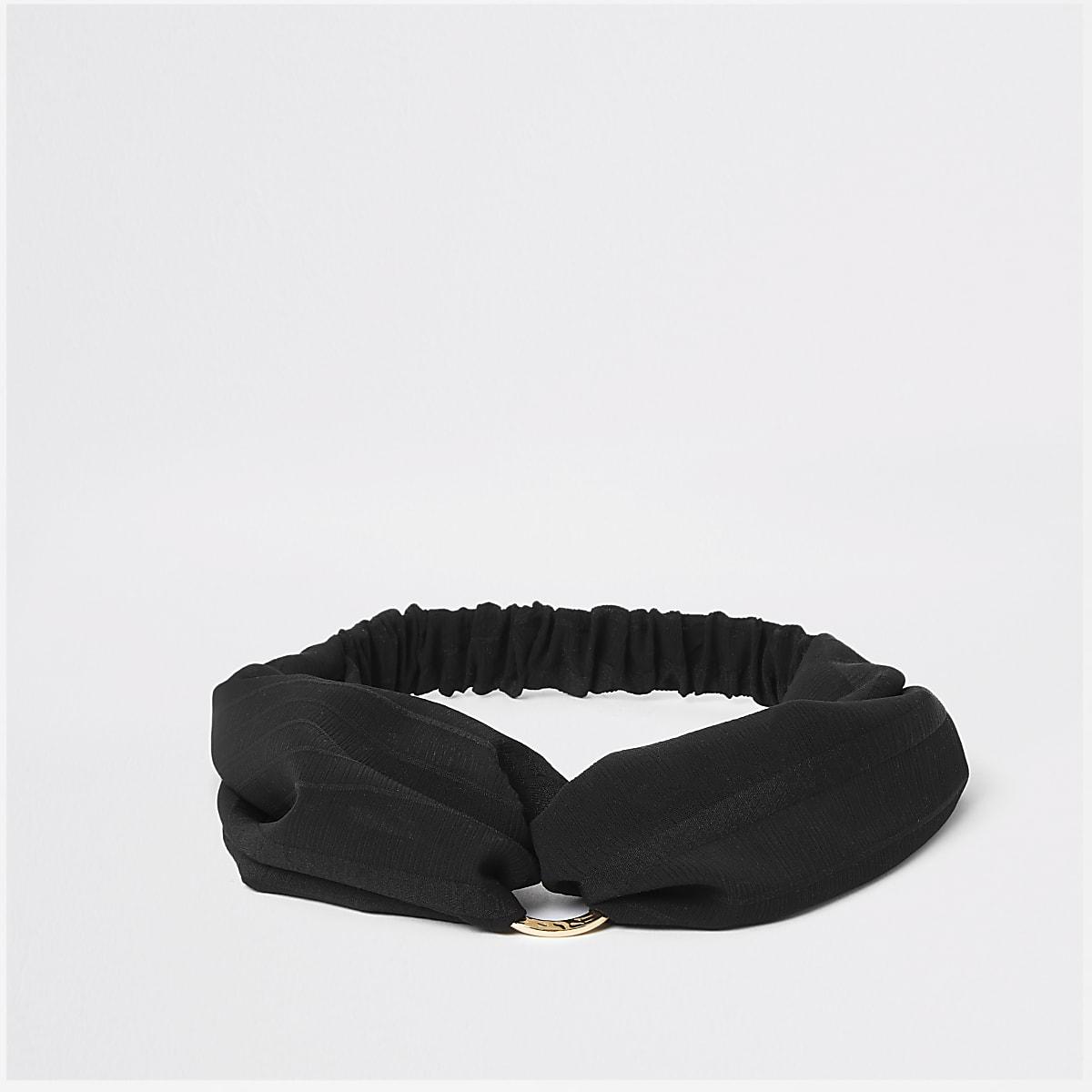 Black ring twist front headband