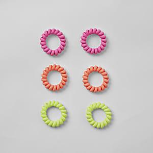 Neon spiral hair tie multipack