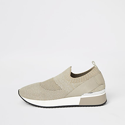 Gold knit runner trainers