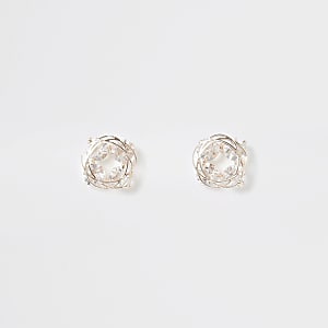 Rose gold colour diamante swirl stud earrings