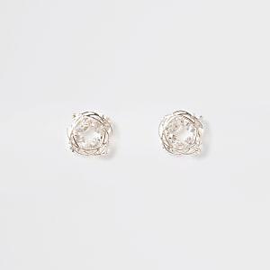 Rose gold color rhinestone swirl stud earrings
