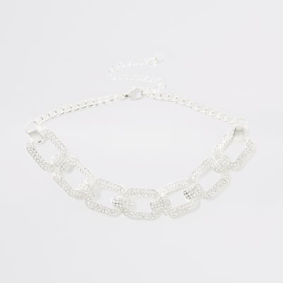 Silver Colour Diamante Choker by River Island