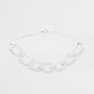 Silver colour diamante choker