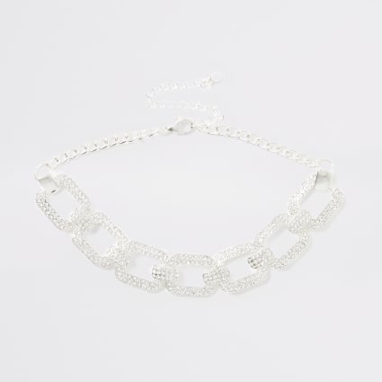 Silver colour diamante choker