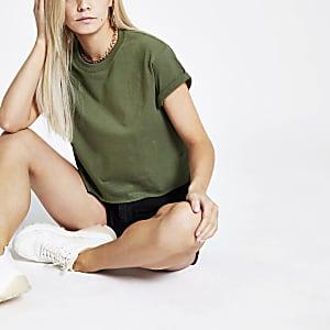 Petite khaki crop T-shirt