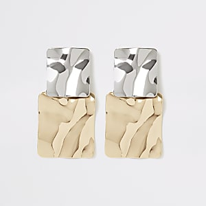 Silver and gold colour square earrings