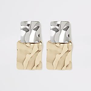 Boucles d'oreilles carrées dorées et argentées