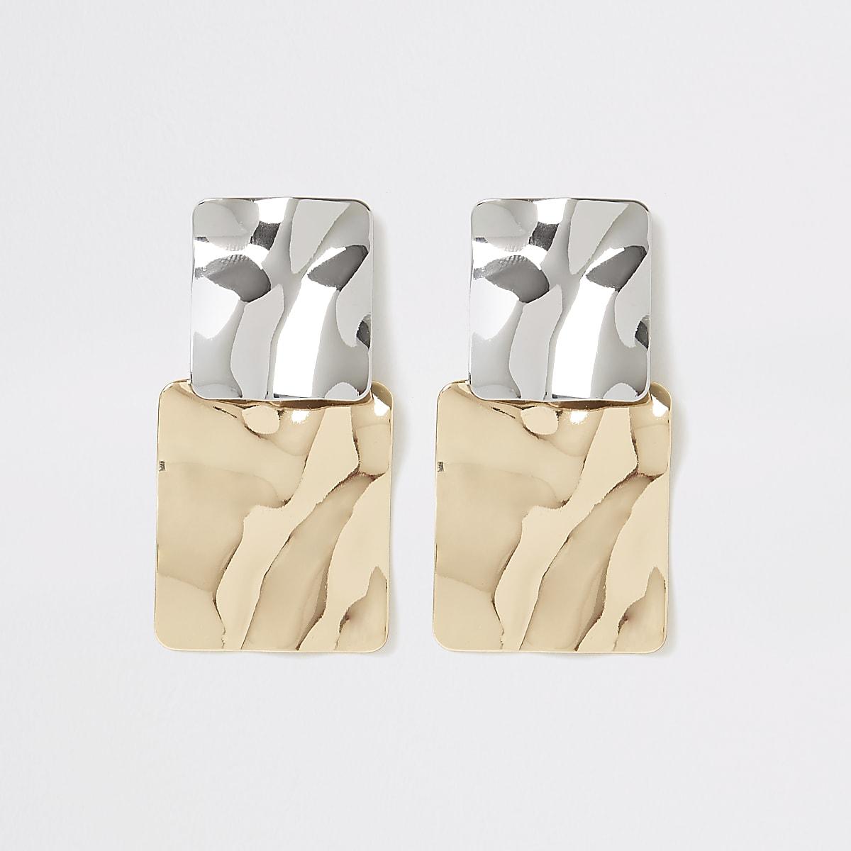 Zilver- en goudkleurige vierkante oorbellen