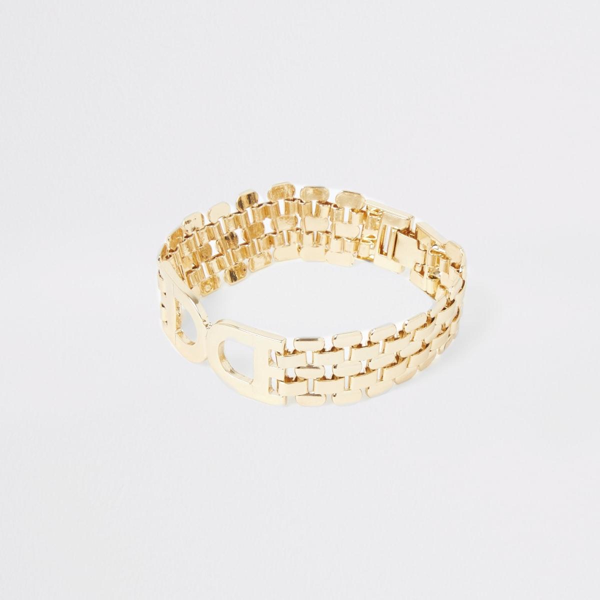 Gold color D ring chain bracelet