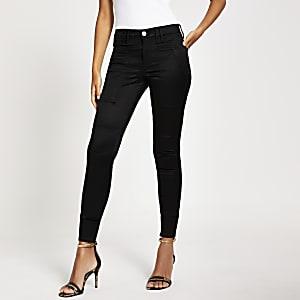 Zwarte satijnen Amelie-superskinny jeans