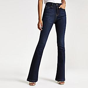 Dunkelblaue Bootcut-Jeans