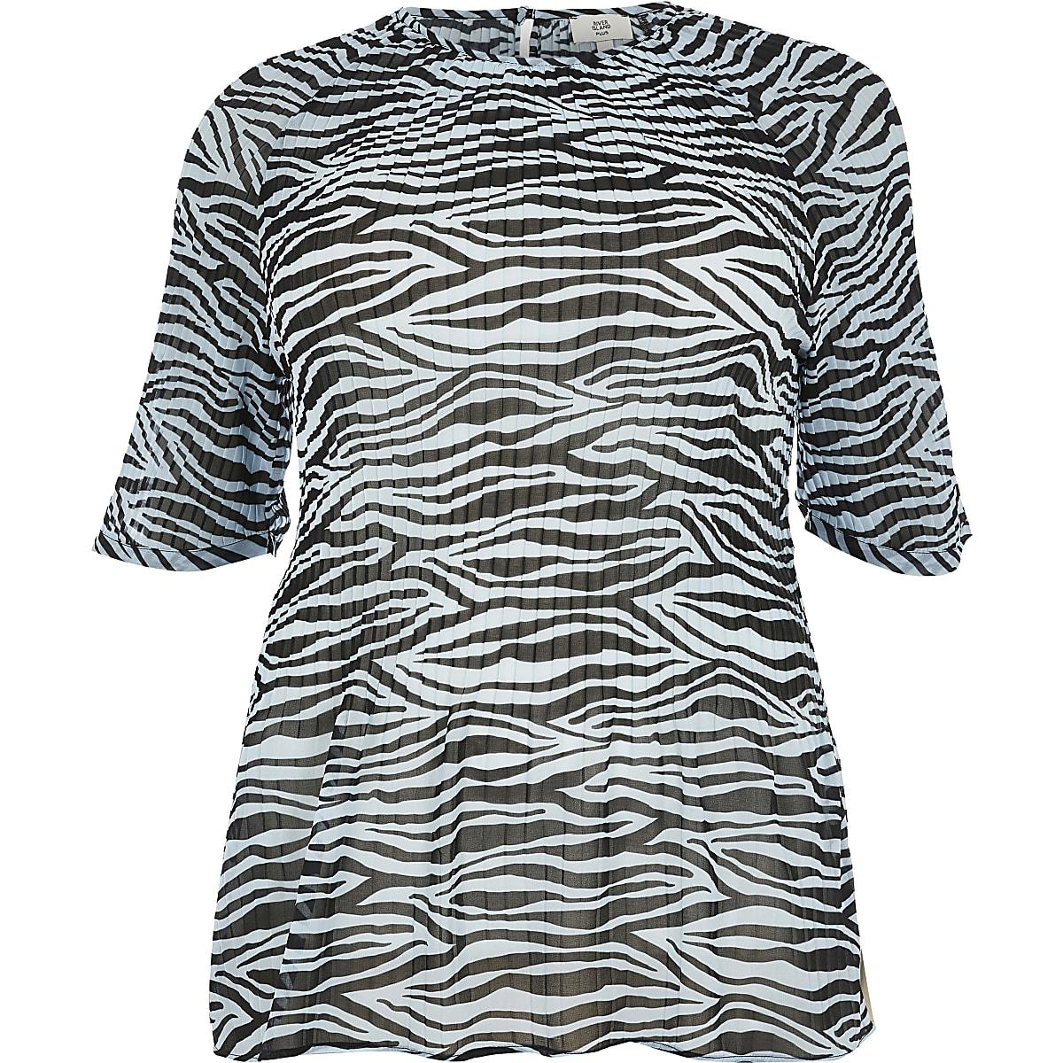 5f4cc431a5 Plus blue zebra print plisse top - T-Shirts - Tops - women