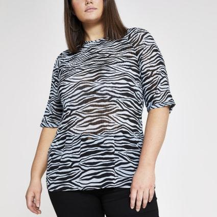 Plus blue zebra print plisse top