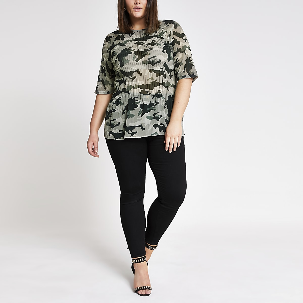 Plus green camo plisse top