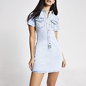 Robe chemisier en jean bleu clair