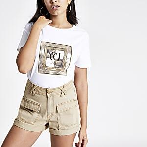 T-shirt à imprimé RI camouflage blanc