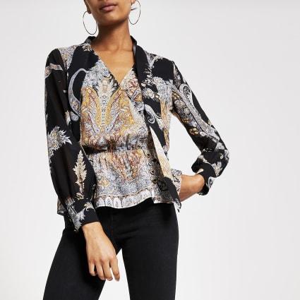 Black printed tie neck sheer sleeve blouse