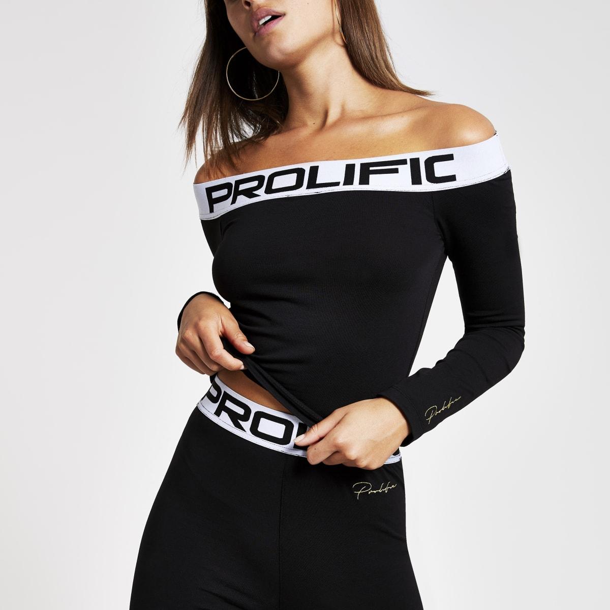Black 'Prolific' bardot top