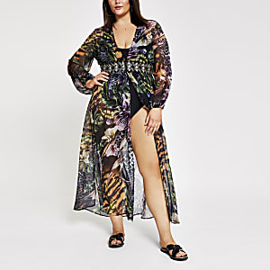 Plus black printed embellished kaftan