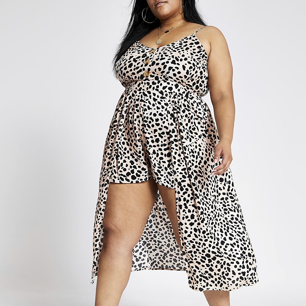 RI Plus - Bruine cami strandjurk met luipaardprint