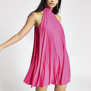 Roze geplooide jurk met halternek