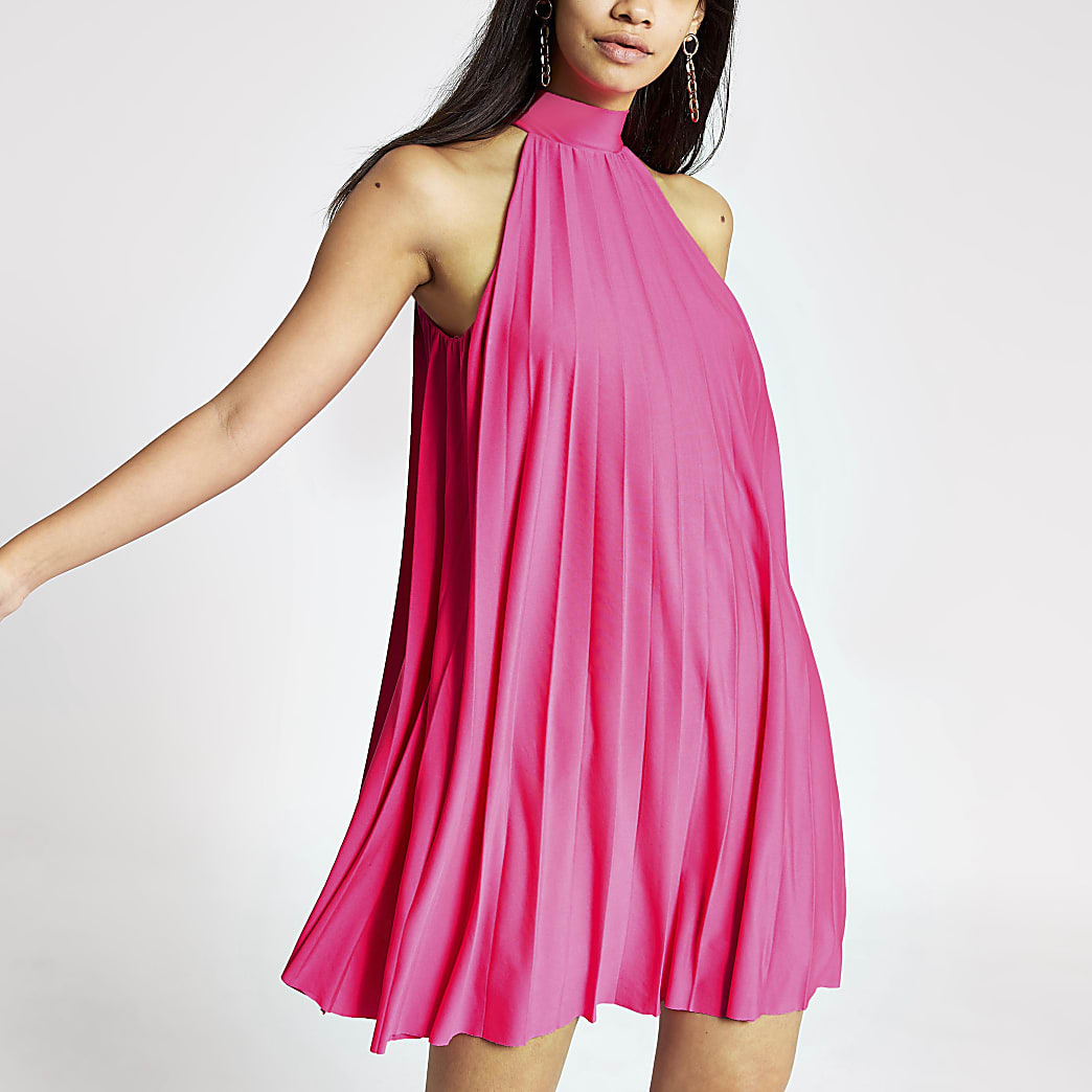Pink pleated halter neck dress