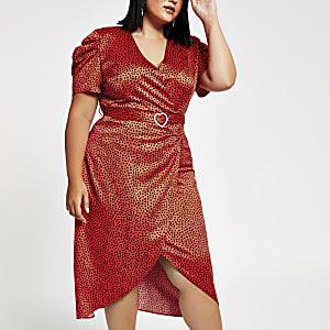 RI Plus - Rode midi-jurk met overslag en hartenprint