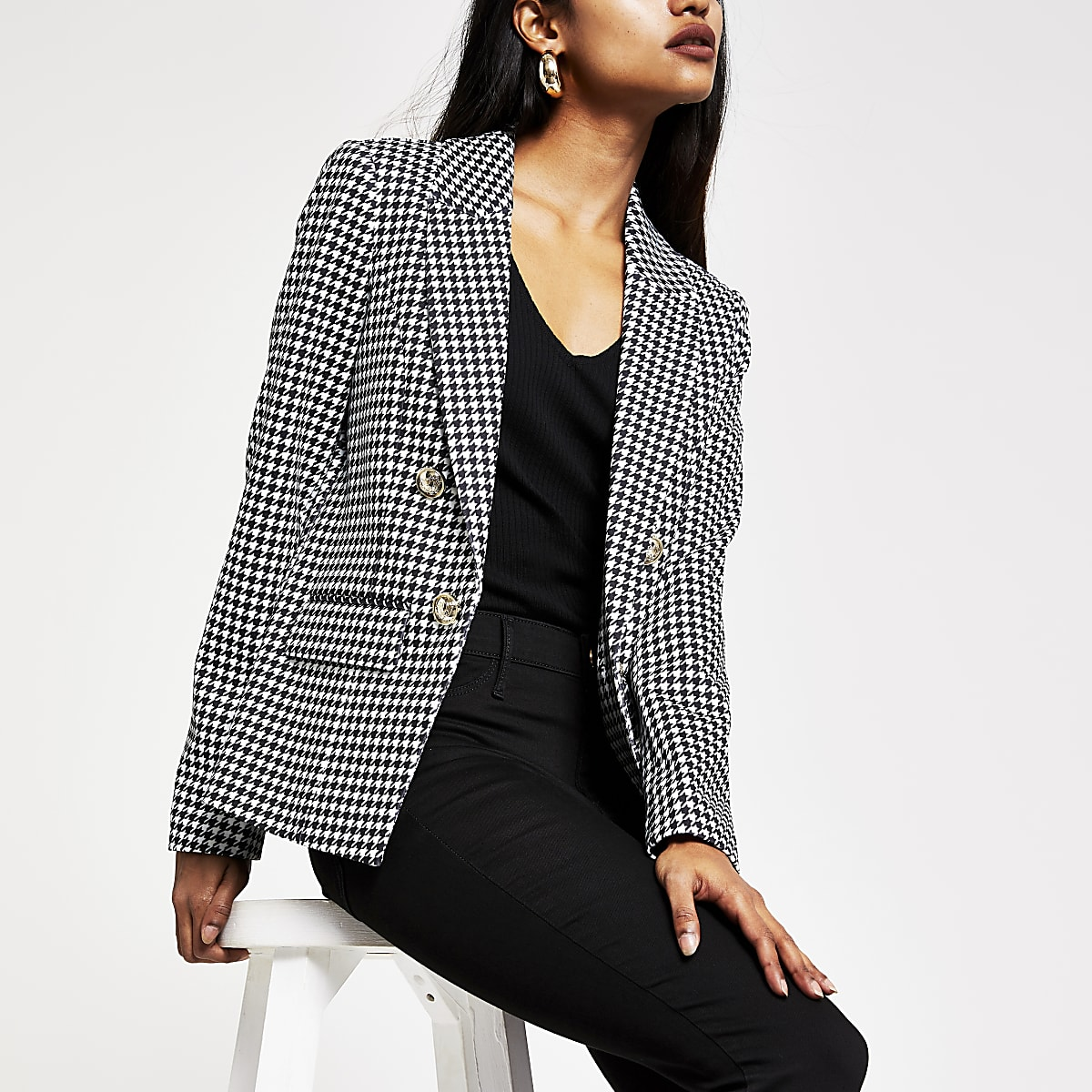 Petite black dogtooth check button blazer