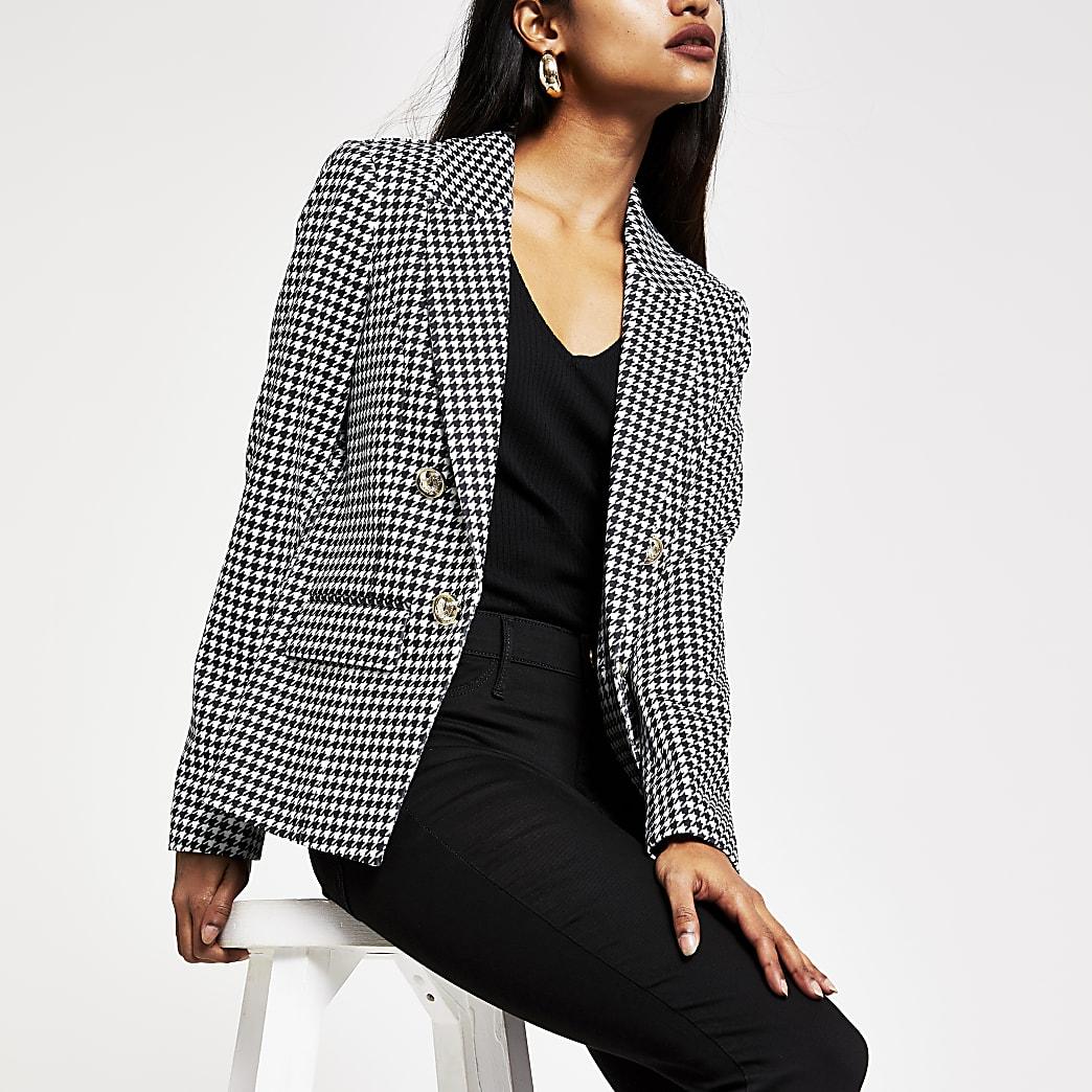 Petite black dogtooth check button blazer