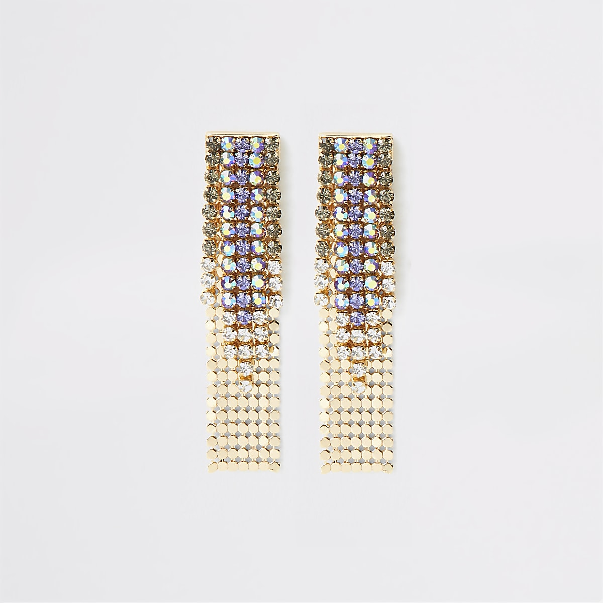 Gold color ombre cupchain earrings