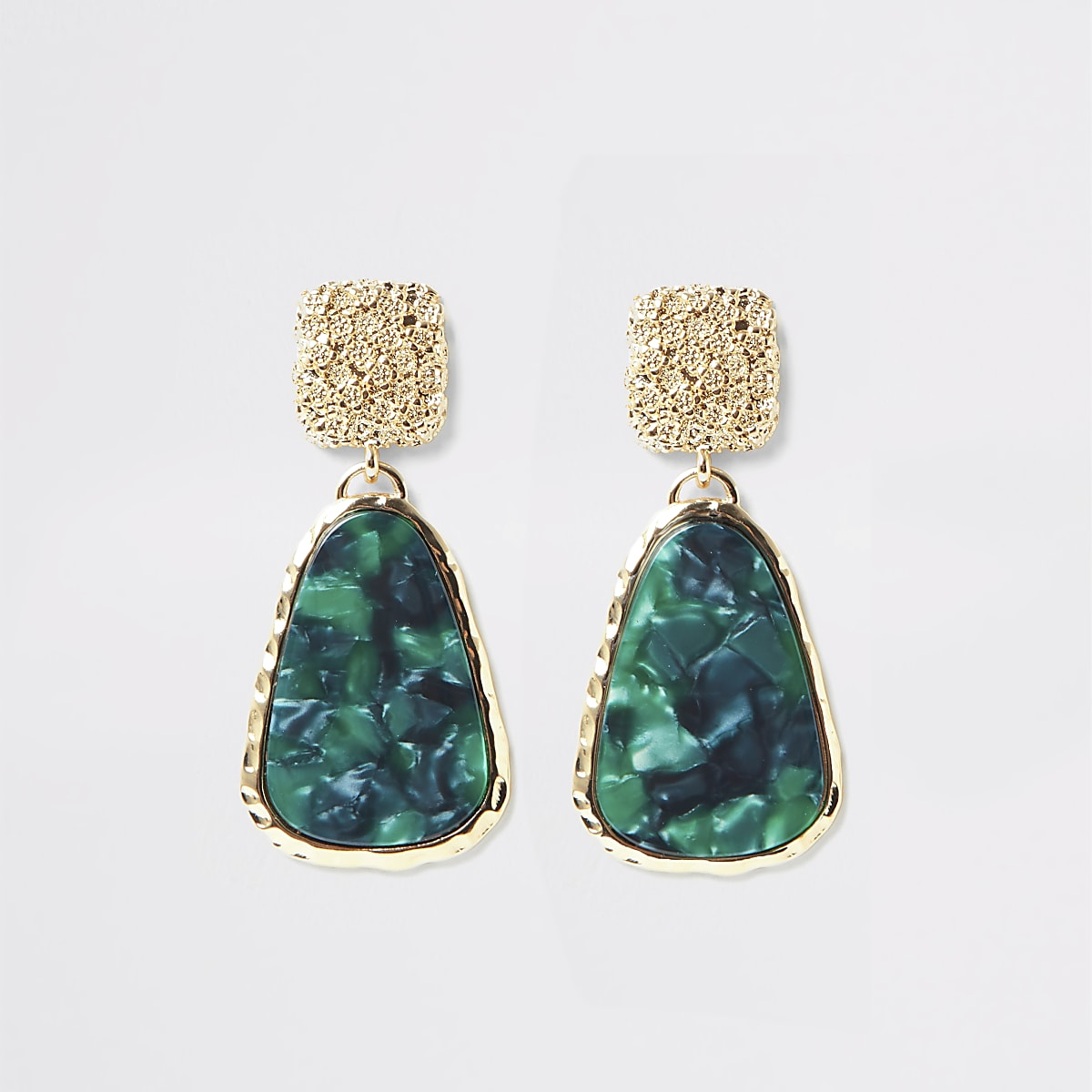 Gold color green resin drop earrings