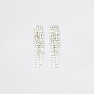 Silver colour cupchain earrings