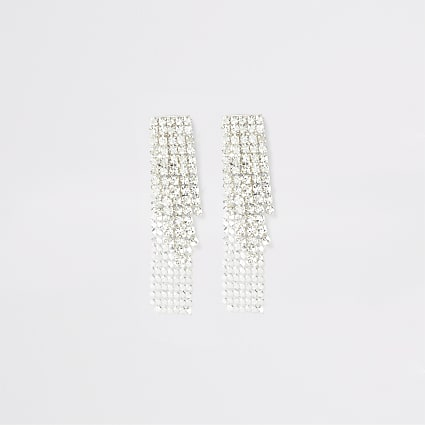 Silver colour cupchain earrings