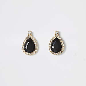 Gold colour black tear drop stud earrings