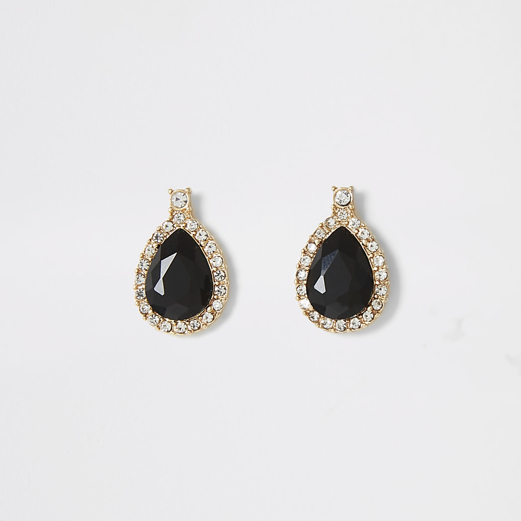 Gold colour black tear drop stud earrings