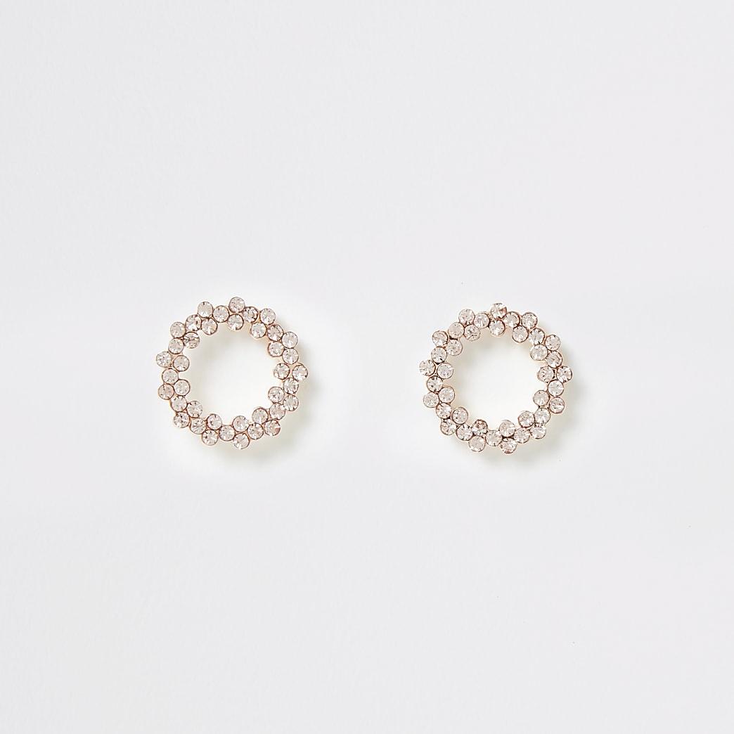 Clous d'oreilles en cercles façon or rose