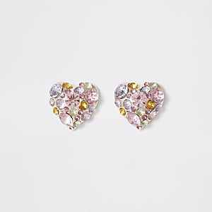 Rose gold embellished heart stud earrings