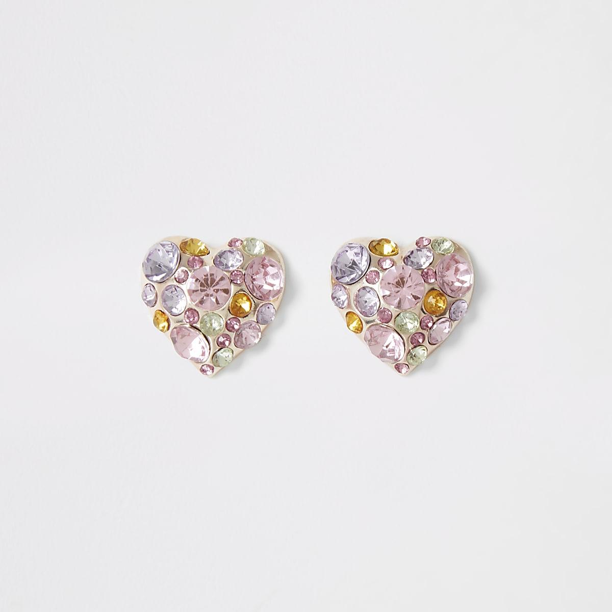 Rose gold embellished heart stud earrings